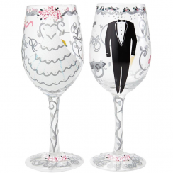 Bride & Groom Wine Glasses, Wedding Gift Set