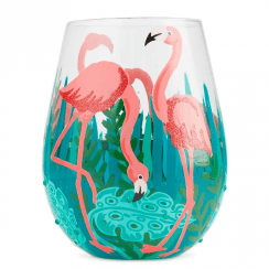 Fancy Flamingo Stemless Glass, Tumbler
