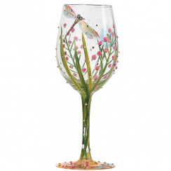 Hand Painted Dragonfly Wine Glass