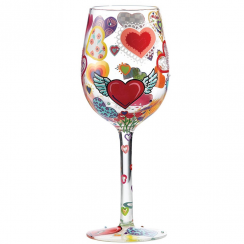 Heart-rageous Hand Painted Wine Glass