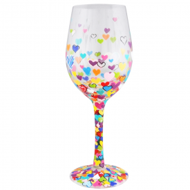Hearts-A-Million Clear Wine Glass