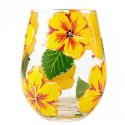 Hibiscus Stemless Glass, Tumbler