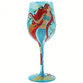 Mermaid Hand Painted Wine Glass