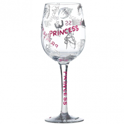 Princess Hand Painted Wine Glass