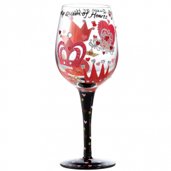 Queen of Hearts Wine Glass