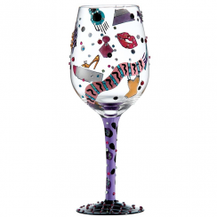 Shopaholic 3 Hand Painted Wine Glass