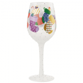 Stockings in the Snow Wine Glass