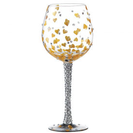 Superbling Heart of Gold Wine Glass