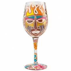 Tiki Hand Painted Wine Glass