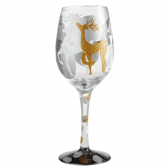 Vision of Reindeer Wine Glass