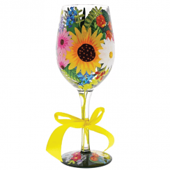 Wildflowers Hand Painted Wine Glass