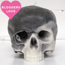 Marble Black & White Skull Candle