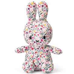 Sitting Tulip Print Bunny Soft Toy