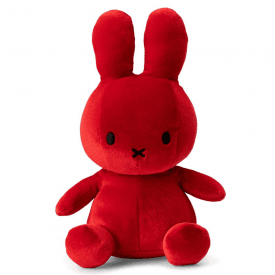 Sitting Velvet Soft Toy, Candy Red