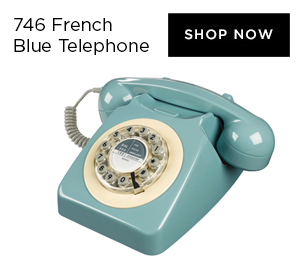 Wild & Wolf 746 Push Button Retro French Blue Telephone
