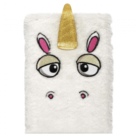 Unicorn White Furry Notebook