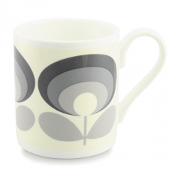 70's Flower Oval Grey Mug