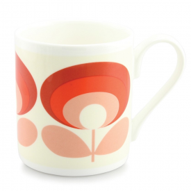 70's Flower Oval Red Mug