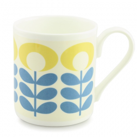 Flower Oval Stem Blue Mug