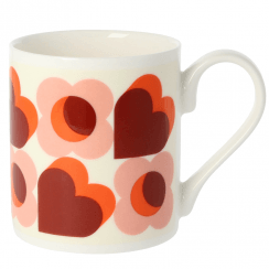 Hearts Pink Bone China Mug