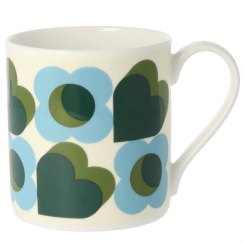 Large Hearts Green Mug