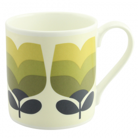 Large Olive Tonal Striped Tulip Mug