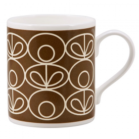 Linear Flower Brown Mug
