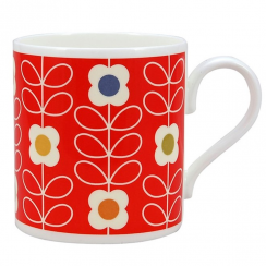 Red Linear Poppy Flower Mug