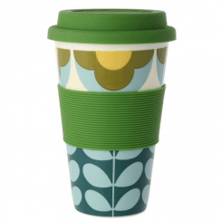 Summer Flower Stem Blue Yellow Travel Mug