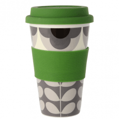 Summer Flower Stem Grey Black Travel Mug