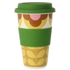 Summer Flower Stem Pink Yellow Travel Mug