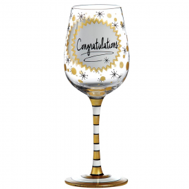 Congratulations Hand Painted Wine Glass