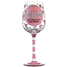 Mum Wine Glass Hand Painted