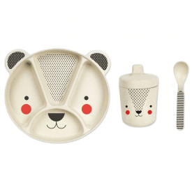 3 Piece Bamboo Eco Dinnerware Set, Panda