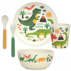 5 Piece Bamboo Eco Dinnerware Set, Dinosaurs