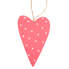 Pink Spotty Wooden Heart