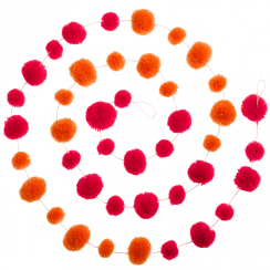 Festival Orange & Pink Pom Pom Garland Decoration