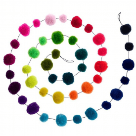 Rainbow Multi Coloured Pom Pom Garland Decoration