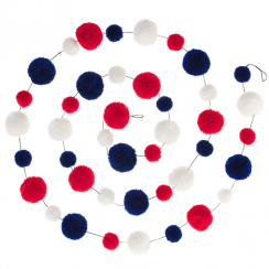 Red, White & Blue Pom Pom Garland Decoration