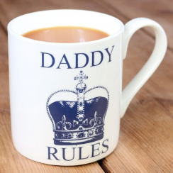 Daddy Rules Blue Crown Mug