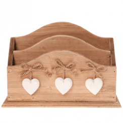 Ashley Farmhouse Letter Rack with White Hearts