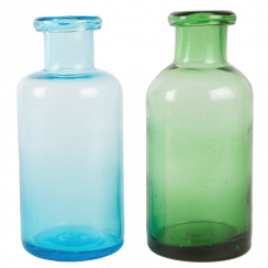 Blue & Green Glass Bottle Vase Assorted