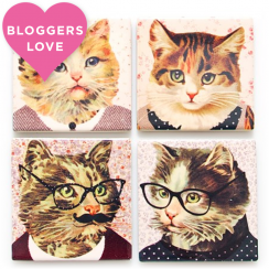Cat Dress Up Coasters, Set of 4