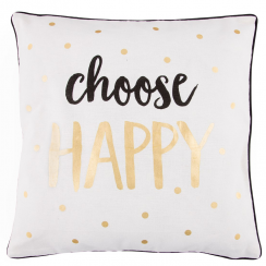 Choose Happy Metallic Monochrome Cushion