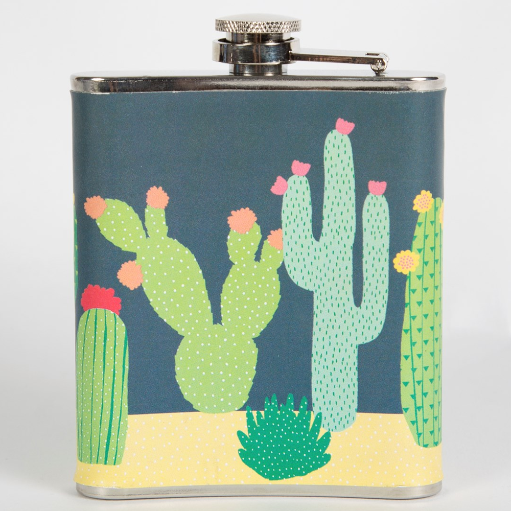 colourful cactus sass belle hip flask flamingo gifts