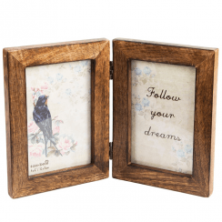 Double Photo Frame Dark Wood