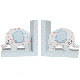 Elephant Floral Blue Bookends