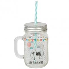 Elephant Mason Jar with Straw
