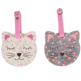 Floral Friends Cat Luggage Tag