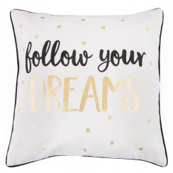 Follow Your Dreams Metallic Monochrome Cushion